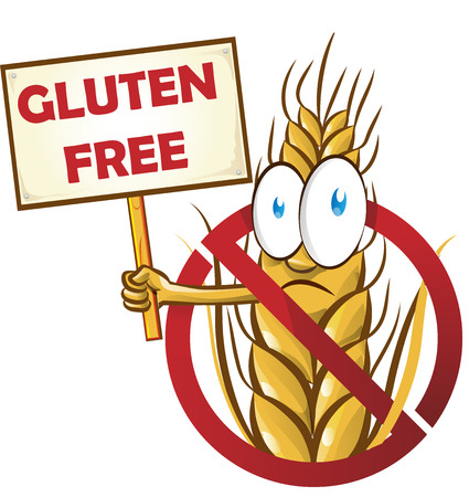 wheat cartoon with signboard isolated on white  background