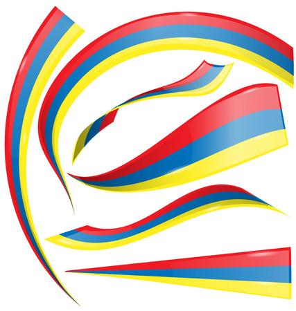 bandera de colombia: Colombia bandera conjunto aislado en blanco