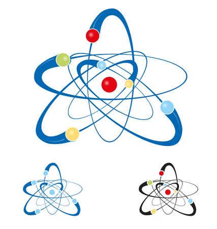 atomo: símbolo del átomo conjunto aislado sobre fondo blanco