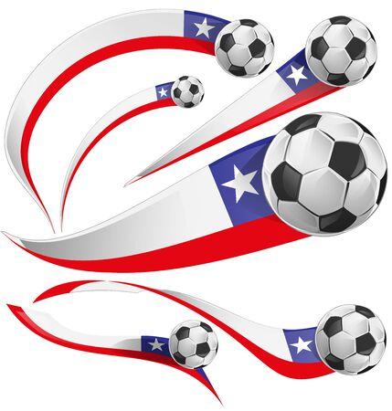 flag of chile: bandera de Chile con el bal�n de f�tbol aislado en el fondo blanco