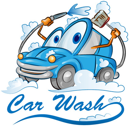 car wash cartoon isolated on white Çizim