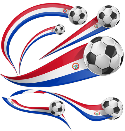 festivities: paraguay flag  with soccer ball isolated on white background