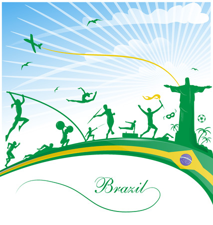 brazil background with flag and sport symbol Ilustrace
