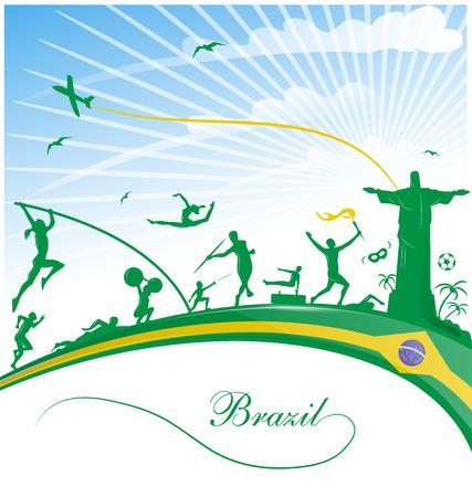 brazil background with flag and sport symbol Illustration