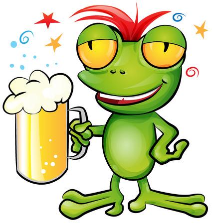 frog cartoon with schooner beer Illustration