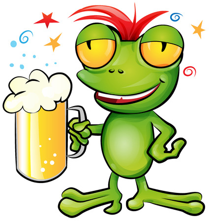 frog cartoon with schooner beer Ilustrace