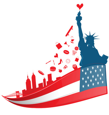 the concept of independence: new york city symbol on USA flag Illustration