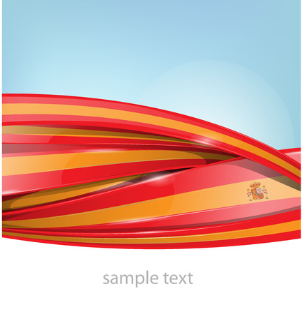 made in spain: ribbon spain flag on sky background