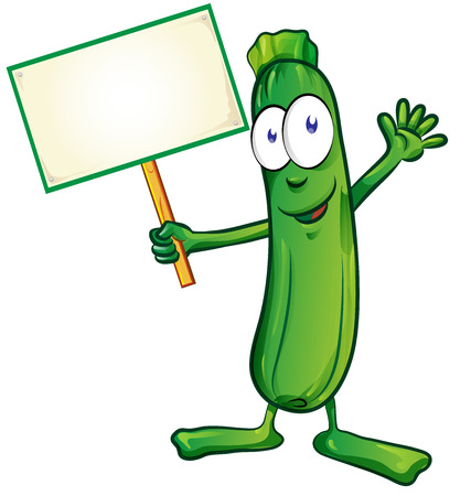 zucchini  cartoon with signboard isolated on white background Stok Fotoğraf - 42689804