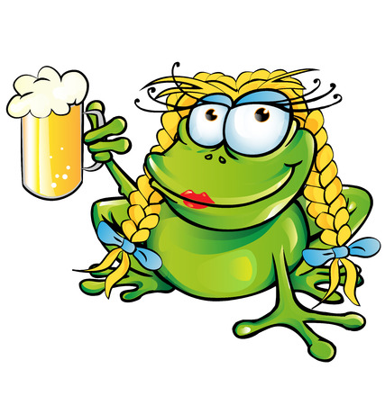 girl frog cartoon with schooner beer