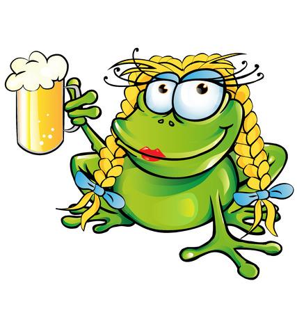 sexy meisje kikker cartoon met schoener bier