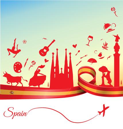 bailando flamenco: España de fondo con la bandera y el símbolo Vectores