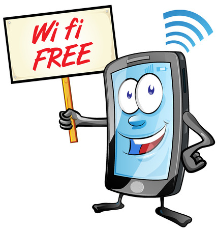 fun mobile cartoon with wi fi signboard isolated on white
