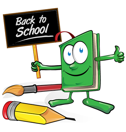 art pen: book cartoon with signboard back to school Illustration