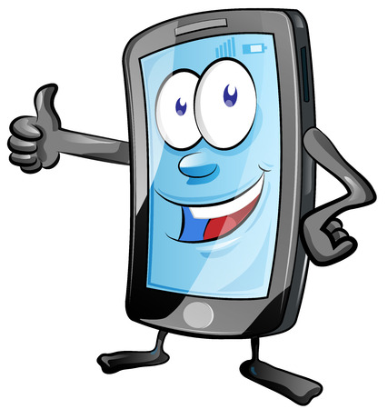 telefono caricatura: diversión de la historieta del teléfono móvil con los pulgares arriba Vectores