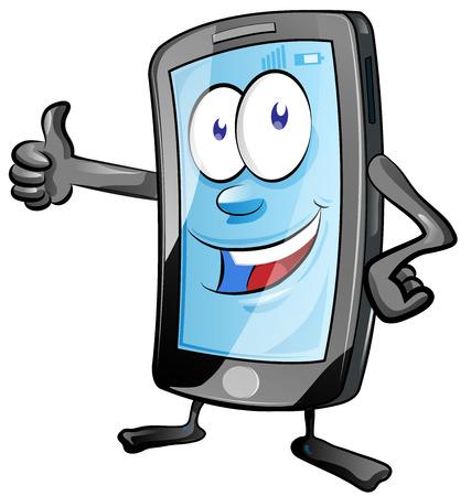 fun mobile phone cartoon with  thumbs up