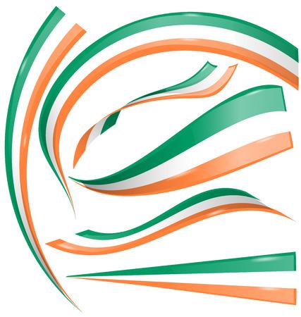 indian flag: ireland flag set isolated on white background
