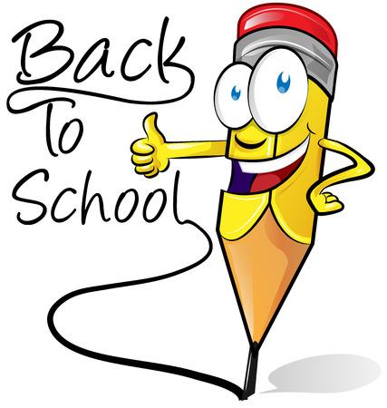 school icon: fun pencil cartoon isolated on white background Illustration