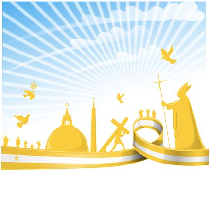 city background: vatican city flag on  background Illustration