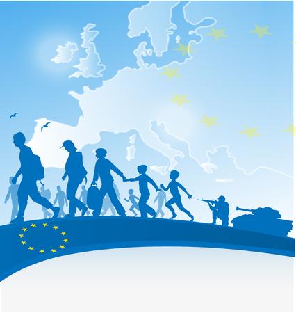mapa de europa: fondo de inmigraci�n