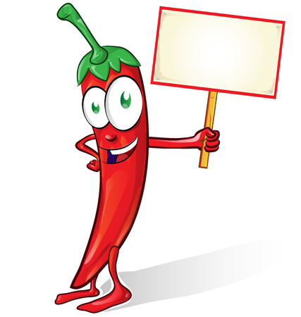 spicy mascot: mexican chili cartoon isolated with signboard on white background Illustration
