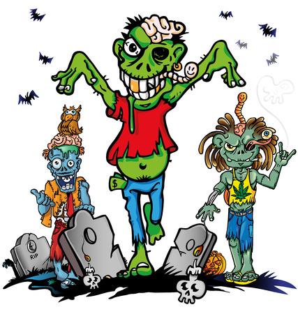 fun zombie cartoon set on white background