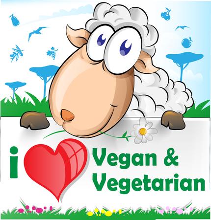 Pecore cartoon con banner vegetariani e vegani Archivio Fotografico - 44702505