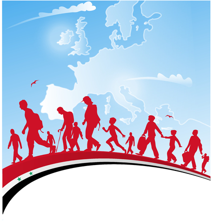 refugees: immigration people with syrian flag on europe  map background Illustration