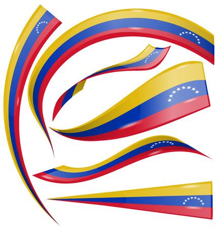venezuela: venezuela flag set on white background Illustration