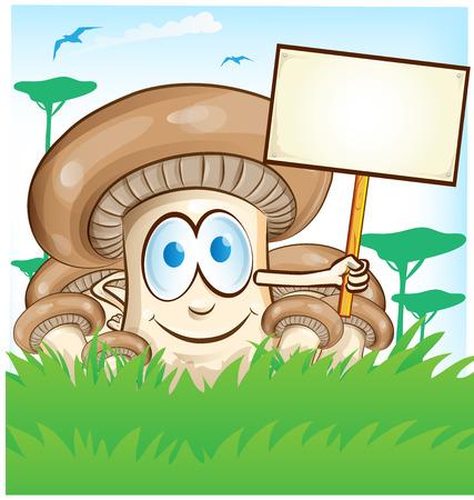 pilz cartoon: mushroom cartoon with signboard Illustration