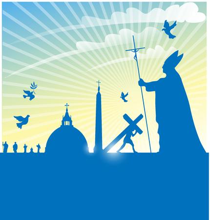 catholic symbol: vatican city symbol with pope on   background
