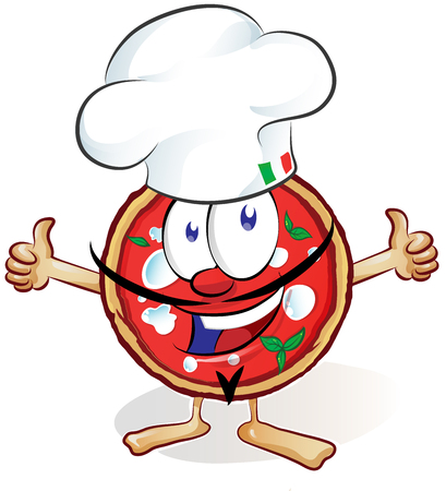 italia: fun pizza cartoon with hat and thumb up