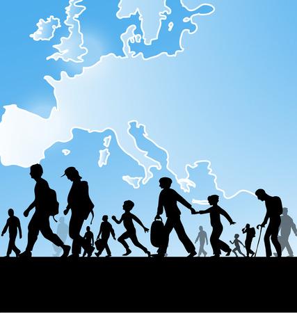 유럽지도 배경에 이민 명 일러스트