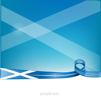 scots: scotland ribbon flag on sky background Illustration