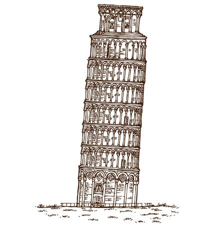 tower of pisa: pisa tower hand draw on white background