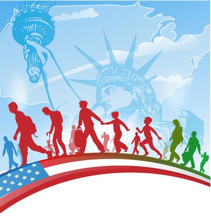 배경에 미국 사람들이 이민