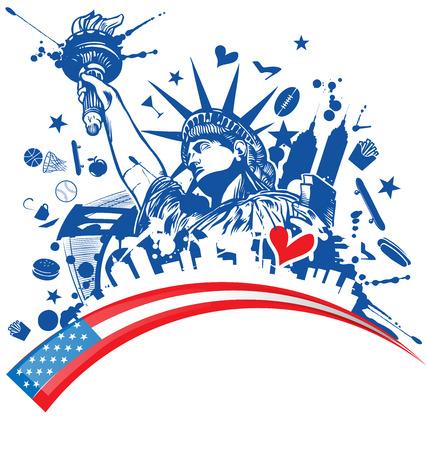 standbeeld van vrijheid met een pictogram ingesteld op de vlag