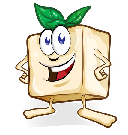 tofu cartoon with basil isolated Illustration
