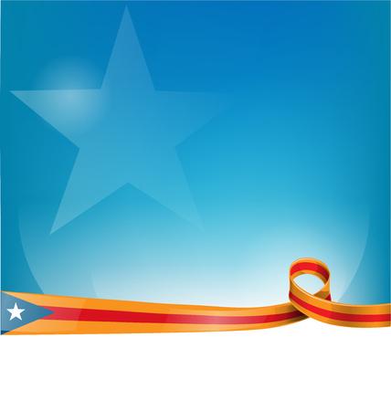 catalonia ribbon flag on background