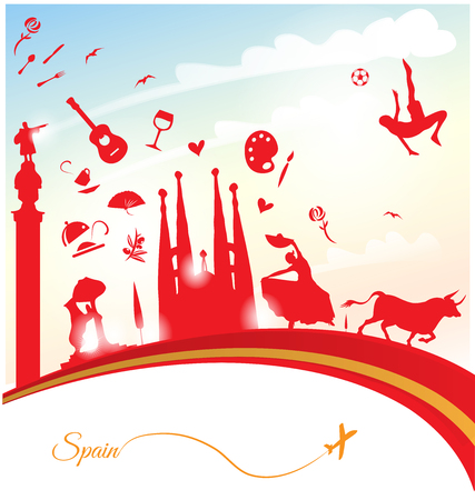 spanish bull: spain background with flag and symbol