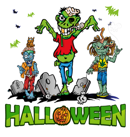 face zombie: halloween background with zombie