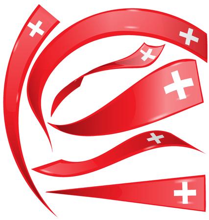 swiss flag: swiss flag set isolated on white background Illustration