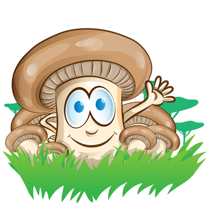 emotions faces: mushroom cartoon group on  forest background
