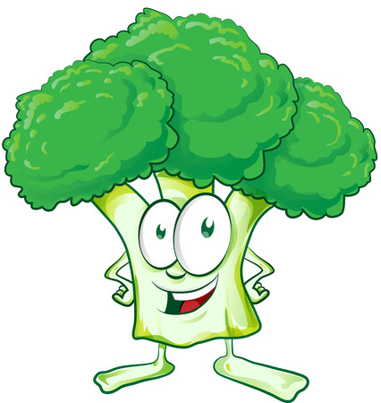 fun  broccoli cartoon on white background