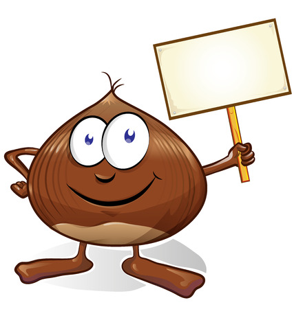 chestnut cartoon with signboard  isolated on white background Ilustrace