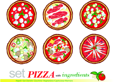 daniele: pizza cartoon set isolated on white background