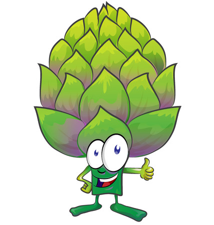 artichoke: fun artichoke cartoon on white background Illustration