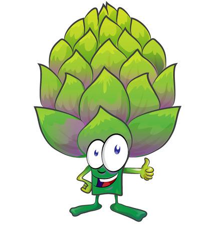 artichoke: fun artichoke cartoon on white background Illustration