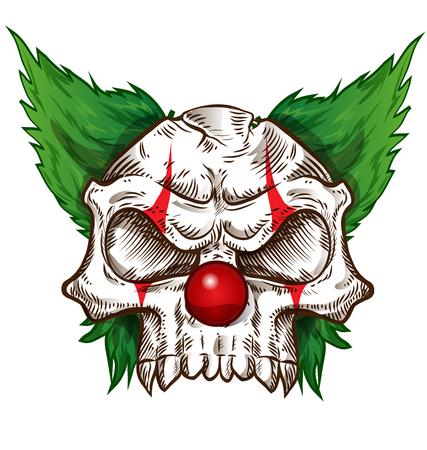 evil clown: skull sketch design on background