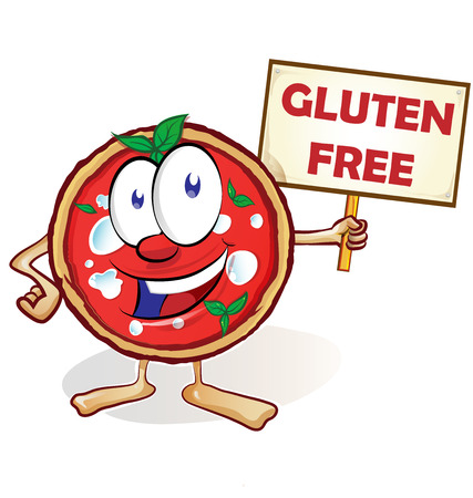 fun pizza cartoon with gluten free signboard